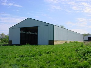 Horse Arena Evergreen Roof and Trim with Polar White Siding