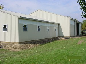 Horse Arena Hickory Moss Roof and Trim with Lightstone Siding