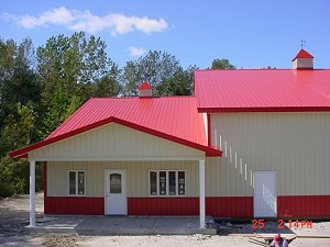Bright Red Roof Trim and Wainscot Lightstone Siding
