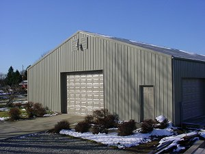 Storage Buildings Lightstone Roof Hickory Moss and Trim